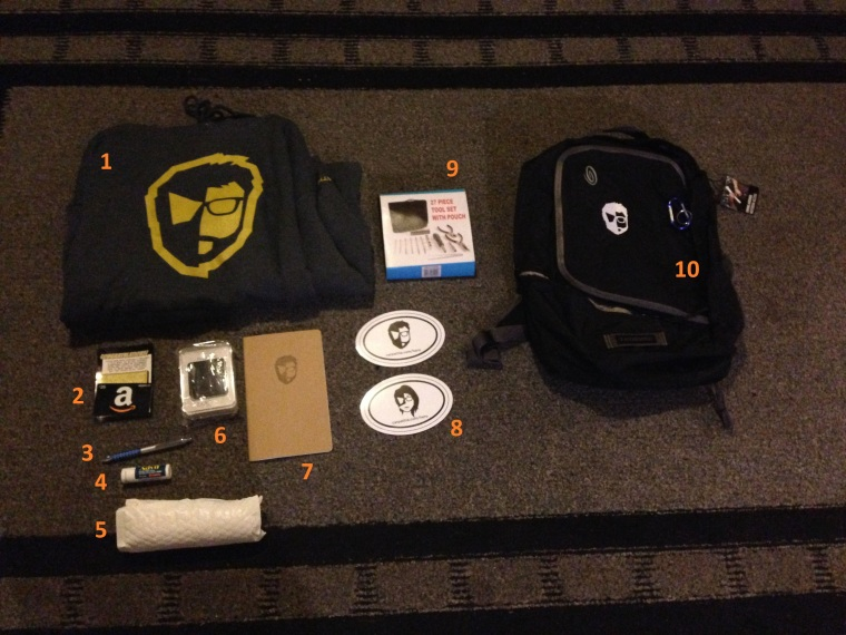 Tech Hero backpack from Carpathia stuffed full of booty!